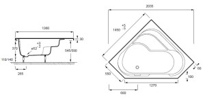 Les dimensions d'une baignoire balnéo d'angle